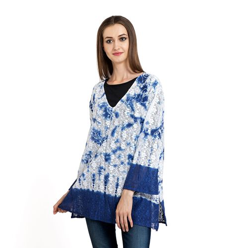 100% Cotton Laser Cut Floral Pattern White and Blue Colour Ombre Effects Poncho (Size 70x50 Cm)