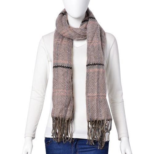Close Out Deal-Light Pink and Black Colour Checks Pattern Scarf with Tassels (Size 90X66 Cm)
