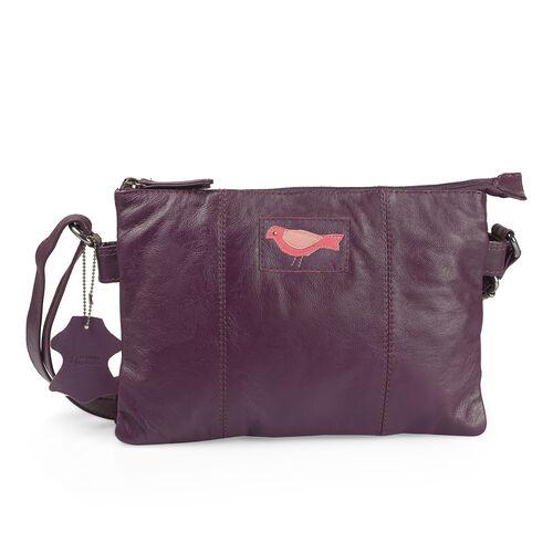 Christmas Cracker Deal-Genuine Leather RFID Blocker Purple Colour Bird Design Sling Bag with Adjustable Shoulder Strap (Size 29X20 Cm)