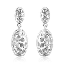 RACHEL GALLEY Rhodium Plated Sterling Silver Charmed Pebble Lattice Drop Earrings (with Push Back), Silver wt 4.36 Gms.