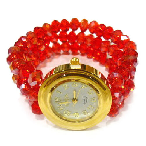 STRADA Japanese Movement White Dial Watch in Gold Tone With 3 Row Red Glass Beads Strap (Stretchable)