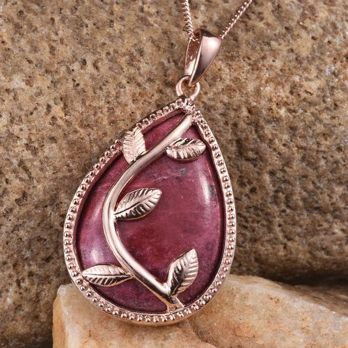 Norwegian Thulite (Pear) Pendant With Chain in Rose Gold Overlay Sterling Silver 25.000 Ct.