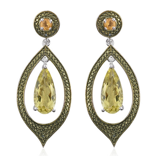 Natural Green Gold Quartz (Pear), Citrine and Green Diamond Earrings (with Push Back) in Platinum Overlay Sterling Silver 6.250 Ct.