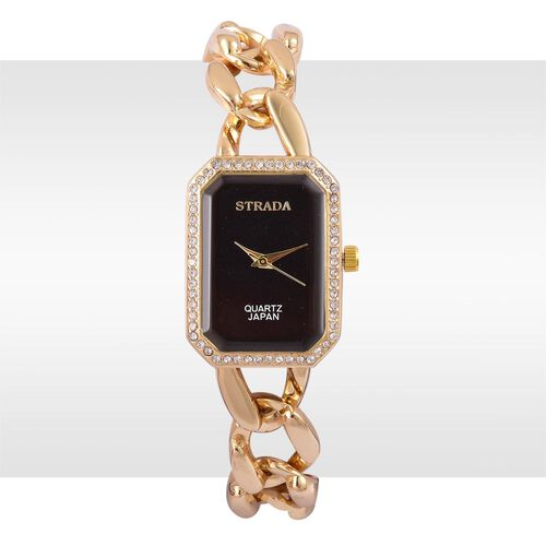 Designer Inspired- STRADA Japanese Movement Gold Tone Watch with Austrian Crystal
