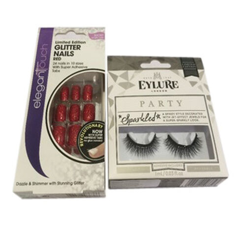 (Option 1) Elegant Touch Glitter Nails Red with Eylure Christmas Sparkle Lash Sparkled