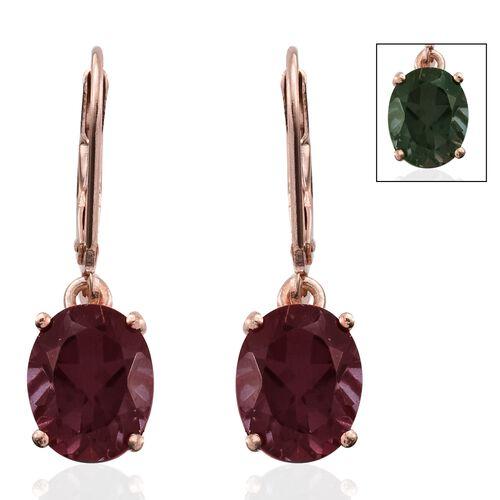 Alexandria Quartz (Ovl) Lever Back Earrings in Rose Gold Overlay Sterling Silver 5.500 Ct.