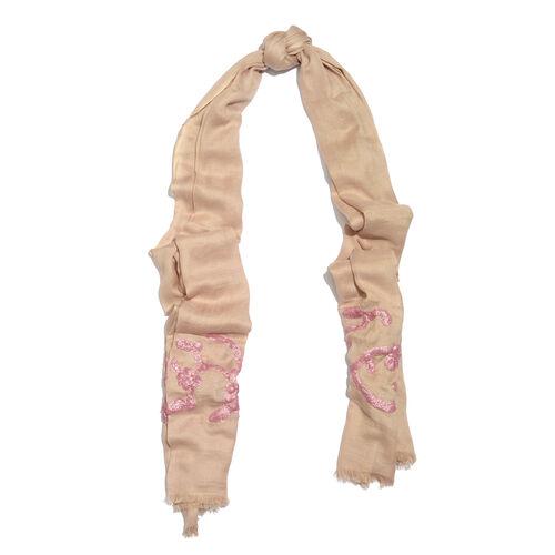 Hand Embellished Pink Sequin Beige Scarf (Size 180X70 Cm)