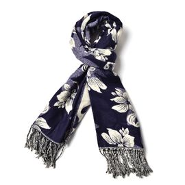 White Colour Floral Pattern Navy Colour Scarf with Tassels (Size 180x65 Cm)
