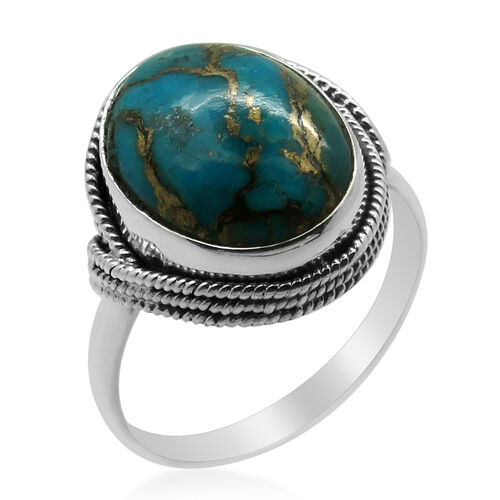 Royal Bali Collection Mojave Blue Turquoise (Ovl) Solitaire Ring in Sterling Silver 7.260 Ct.