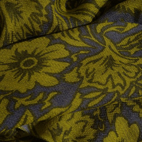 100% Merino Wool Green and Grey Colour Floral and Leaves Pattern Scarf with Fringes (Size 170X70 Cm)