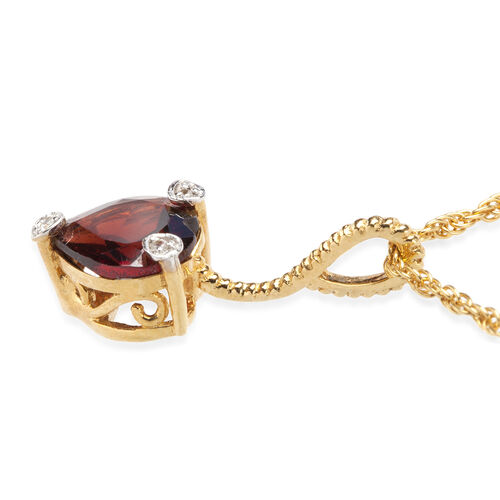 Mozambique Garnet and Natural Cambodian Zircon Heart Pendant with Chain in Yellow Gold Overlay Sterling Silver 1.792 Ct.