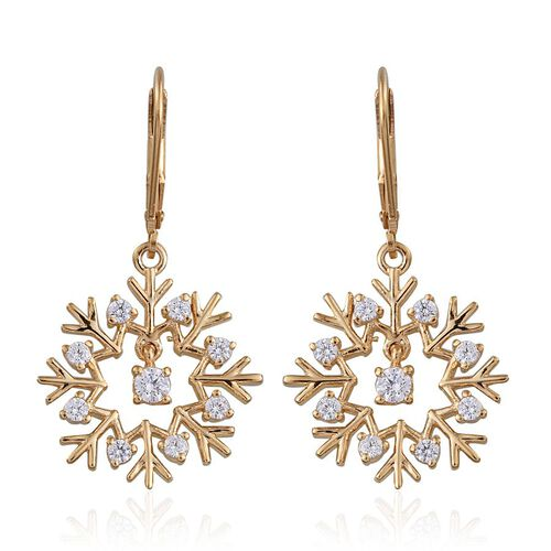 J Francis - 14K Gold Overlay Sterling Silver (Rnd) Snowflake Lever Back Earrings Made with SWAROVSKI ZIRCONIA