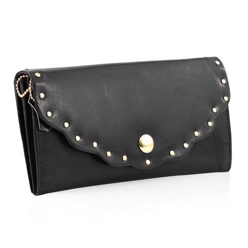 100% Genuine  High Glossed Black Colour RFID Blocker Ladies Wallet (Size 19.5x10 Cm)