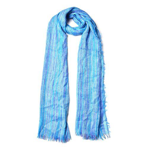 Purple, White and Multi Colour Stripe Pattern Blue Colour Scarf (Size 180x90 Cm)