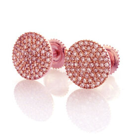 ILIANA 18K Rose Gold 0.50 Carat Natural Pink Diamond SI Pave Disc Stud Earrings with Screw Back