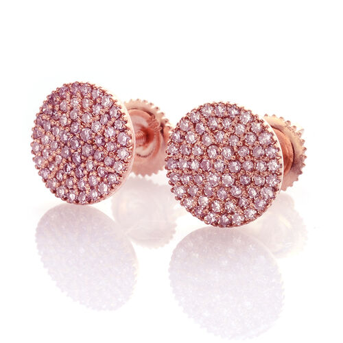 ILIANA 18K Rose Gold Very Rare Natural Pink Diamond (Rnd) Earrings (with Screw Back) 0.500 Ct., No of Diamonds 122pcs
