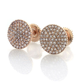 ILIANA 18K Rose Gold 0.50 Carat Very Rare Natural Pink Diamond (Rnd) Stud Earrings (with Screw Back)