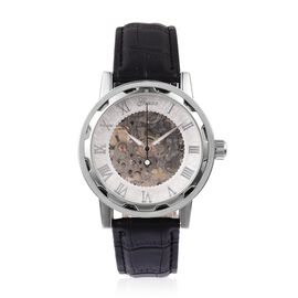 GENOA Semi - Automatic Machanical Movement White Dial Water Resistant Watch in Silver Tone with Black Strap