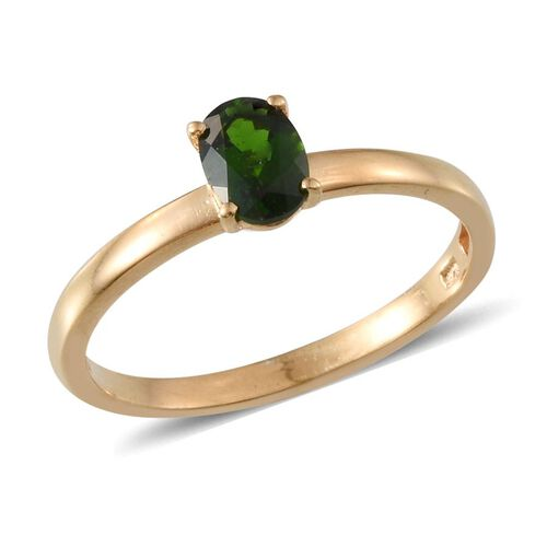 Russian Diopside (Ovl 0.85 Ct) Ring in 14K Gold Overlay Sterling Silver 1.750 Ct.