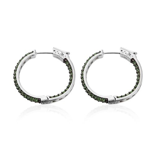 Limited Edition - Very Rare Tsavorite Garnet (Rnd) Hoop Earrings (with Clasp) in Platinum Overlay Sterling Silver 3.500 Ct., No. of Gemstones 120pcs/ Silver wt. 8.35 Gms.