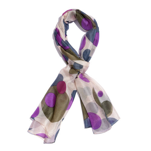 100% Mulberry Silk Green, Purple and Multi Colour Handscreen Polka Dots Printed Scarf (Size 180X50 Cm)