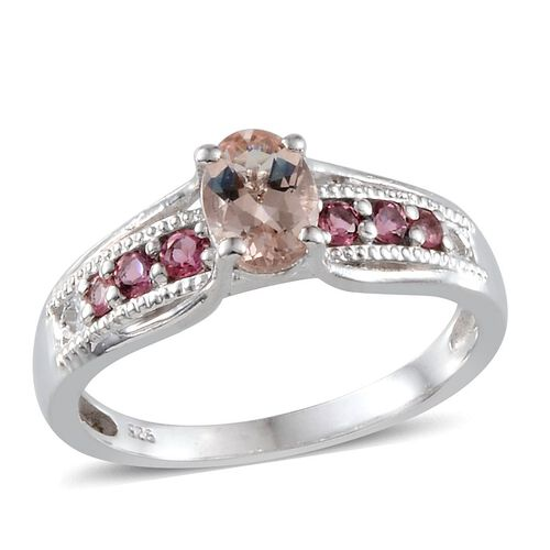 Marropino Morganite (Ovl 0.50 Ct), Pink Tourmaline Ring in Platinum Overlay Sterling Silver 0.750 Ct.