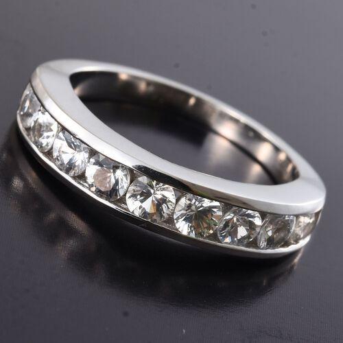 RHAPSODY 950 Platinum 1 Ct. AAAA White Sapphire Half Eternity Ring