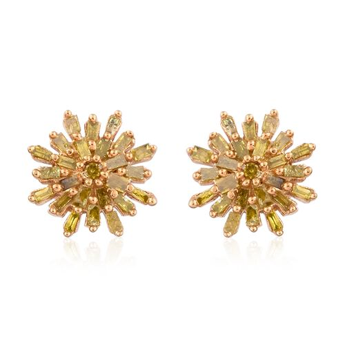 Yellow Diamond (Rnd and Bgt) Starburst Stud Earrings (with Push Back) in 14K Gold Overlay Sterling Silver 0.330 Ct.
