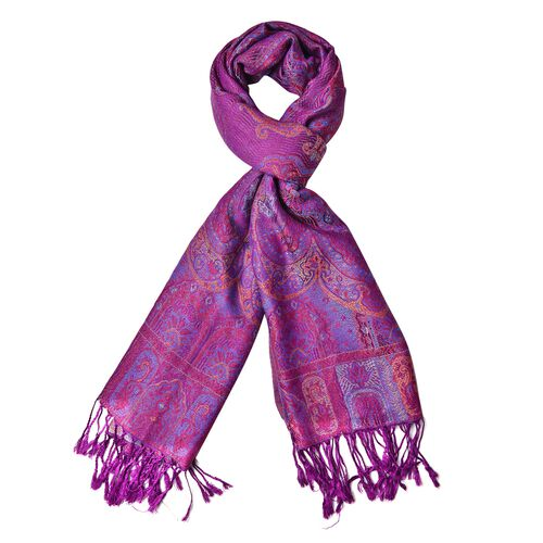 Purple, Blue and Multi Colour Ethnic Pattern Scarf with Tassels (Size 170X68 Cm)