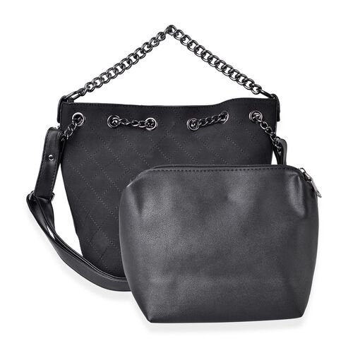 Set of 2 - Black Colour Handbag with Chain Strap (Size 31X26X21X13.5 Cm) and Pouch (Size 22X18X9 Cm)