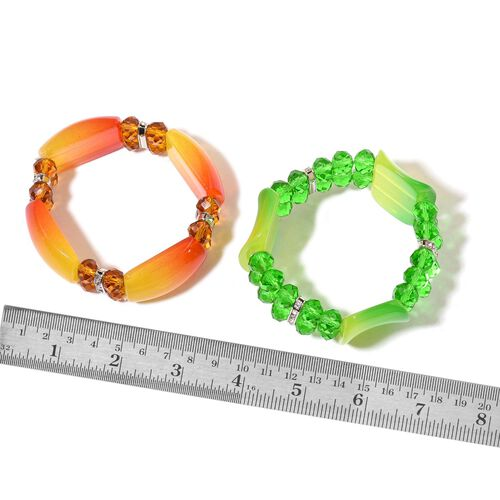 Set of 2 - Simulated Green, Champagne and Multi Colour Diamond and White Austrian Crystal Stretchable Bracelet (Size 7.5) in Silver Tone
