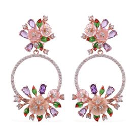 Jardin Collection - Pink Mother of Pearl, Amethyst, Rose De France Amethyst and Multi Gemstone Enameled Flower Earrings (with French Clip) in Rhodium and Rose Gold Overlay Sterling Silver