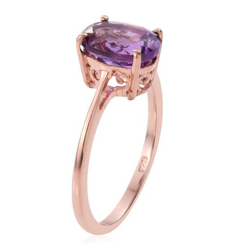 Amethyst 1.50 Ct Silver Solitaire Ring in Rose Gold Overlay