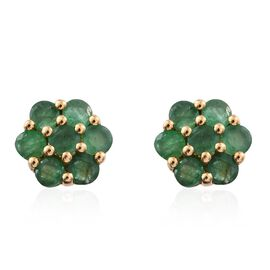 Kagem Zambian Emerald (Rnd) Floral Stud Earrings (with Push Back) in 14K Gold Overlay Sterling Silver 1.500 Ct.
