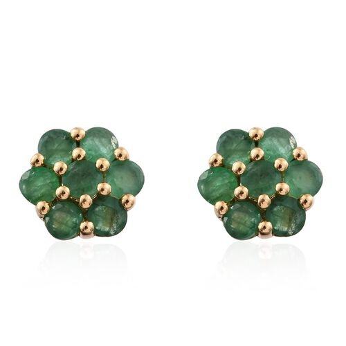 1.50 Carat Kagem Zambian Emerald Floral Stud Earrings in Gold Plated Silver (with Push Back)