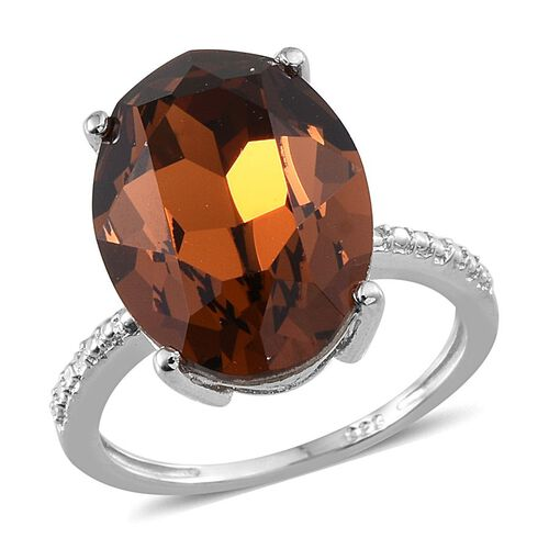 J Francis Crystal from Swarovski - Smoked Topaz Colour Crystal (Ovl) Ring in Platinum Overlay Sterling Silver 10.250 Ct.
