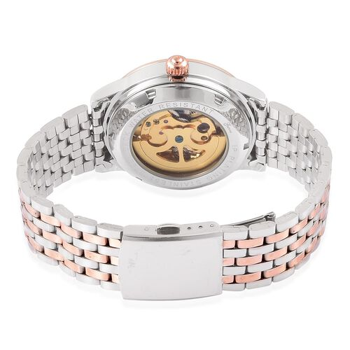 GENOA Automatic Silver and Rose Gold Tone Skeleton Watch with Austrian Crystal