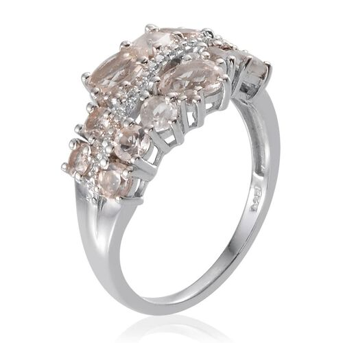 Marropino Morganite (Ovl), White Topaz Ring in Platinum Overlay Sterling Silver 2.000 Ct.