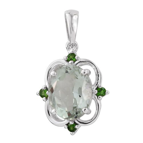 Green Amethyst (Ovl 3.25 Ct), Russian Diopside Pendant in Platinum Overlay Sterling Silver 3.400 Ct.