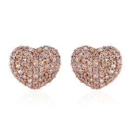9K Rose Gold 0.50 Carat Natural Pink Diamond (Rnd) Earrings (with Push Back)
