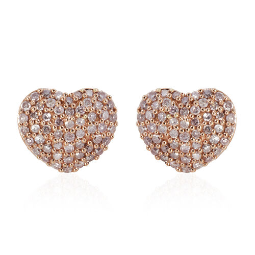 9K Rose Gold 0.50 Carat Natural Pink Diamond Heart Stud Earrings (with Push Back)