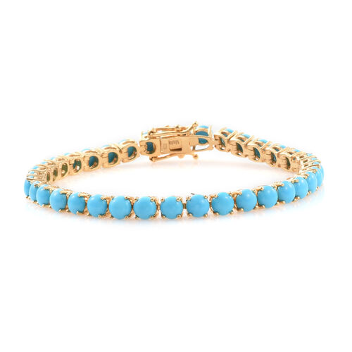 AAA Arizona Sleeping Beauty Turquoise (Rnd) Tennis Bracelet (Size 7.5) in 14K Gold Overlay Sterling Silver 14.250 Ct.
