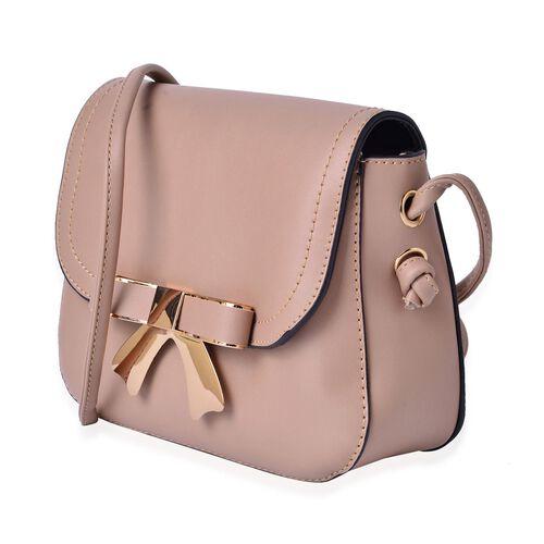 Khaki Colour Crossbody Bag with Shoulder Strap (Size 21.5x17x6.5 Cm)