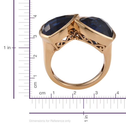 Checkerboard Cut Ceylon Colour Quartz (Trl) Ring in 14K Gold Overlay Sterling Silver 11.750 Ct.