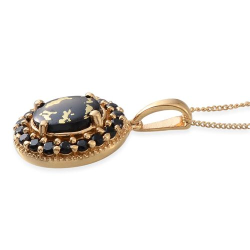 Goldenite (Ovl 1.50 Ct), Boi Ploi Black Spinel Pendant With Chain in 14K Gold Overlay Sterling Silver 2.250 Ct.