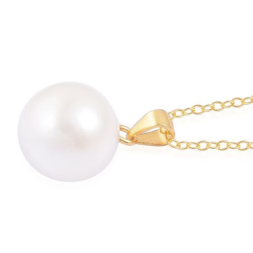 South Sea White Pearl (Rnd 11-12mm) Pendant with Chain in 14K Gold Overlay Sterling Silver