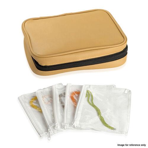 Beige Colour Travelling Jewellery Bag (Size 25x20x6 Cm) with 5 Transparent Zipper Pouch (Size 19x15 Cm)