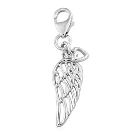 Angel Wing and Heart Charm in Platinum Plated Silver