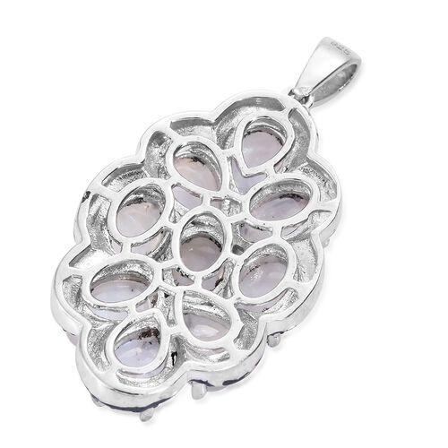 Sri Lankan Rainbow Moonstone (Ovl and Pear) Pendant in Platinum Overlay Sterling Silver 8.500 Ct.