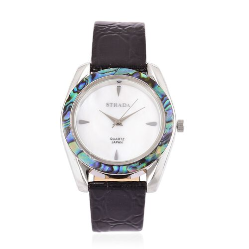 STRADA Mother of Pearl and Abalone Shell Bezel Japanese Movement Cobble Embossed Watch in Silver Tone